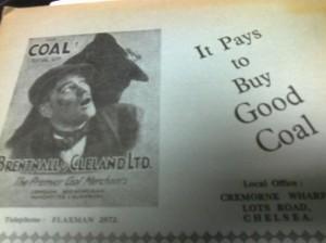 Marjon Magazine 1935- a coal merchants' advert.